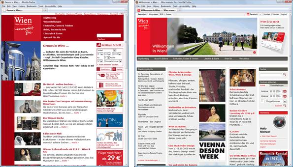 wien.info vor (links) und nach (rechts) dem Relaunch 2009