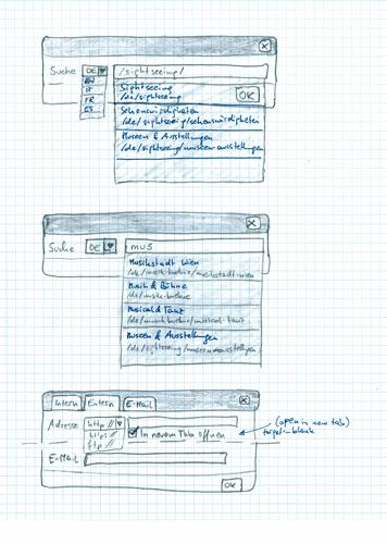 Skizze eines Dialogs zum einfügen von Links